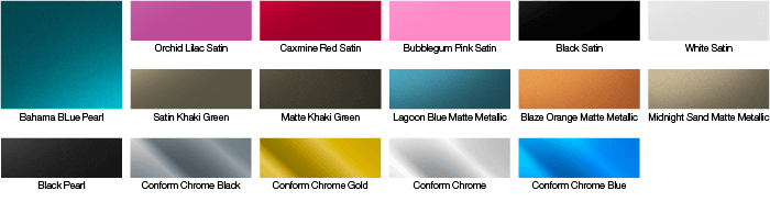 Metallic car paint colour chart